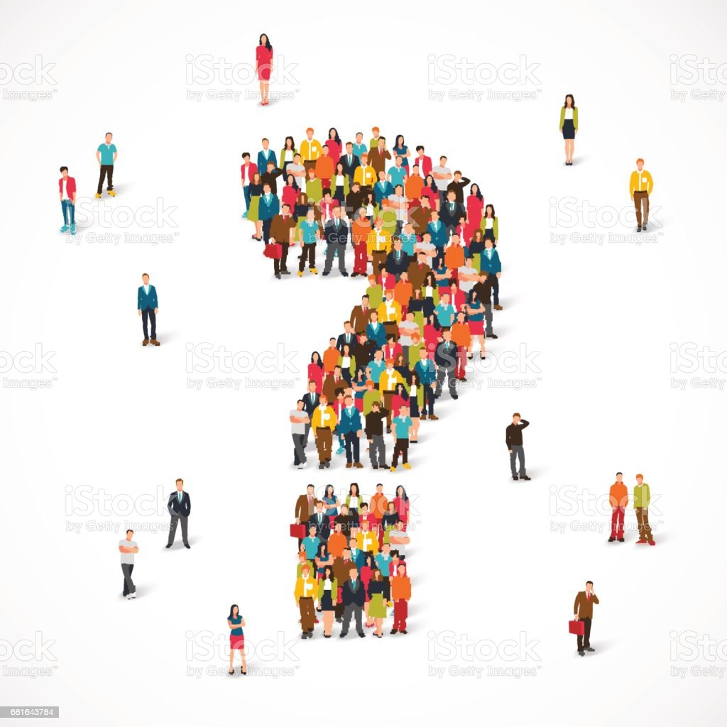 Group of people lined up as a question mark vector art illustration