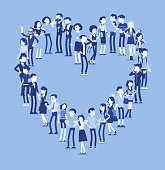 Group of people making heart shape. Members of different nations, sex, age, jobs standing together forming romantic love symbol. Vector illustration with faceless characters, full length