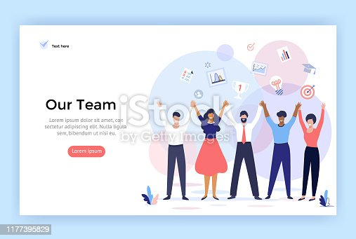 istock Group of people making high hands, business team concept illustration. 1177395829