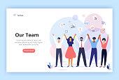 Group of people making high hands, business team concept illustration, perfect for web design, banner, mobile app, landing page, vector flat design