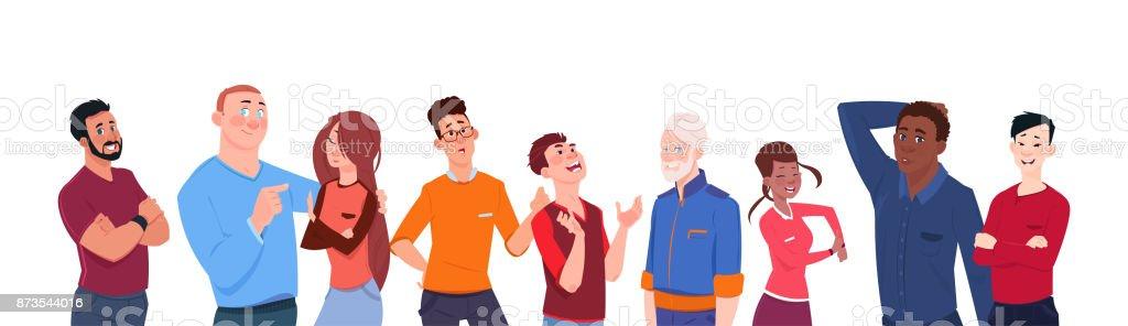 Ilustración De Grupo De Dibujos Animados De Carrera De Mezcla
