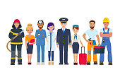 Group of people of different professions. Character design of doctors, pilot and stewardess, builder, repairman, fireman and secretary. Vector illustration on white background