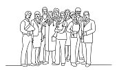 Group of people of different professions. Hand drawn vector illustration.