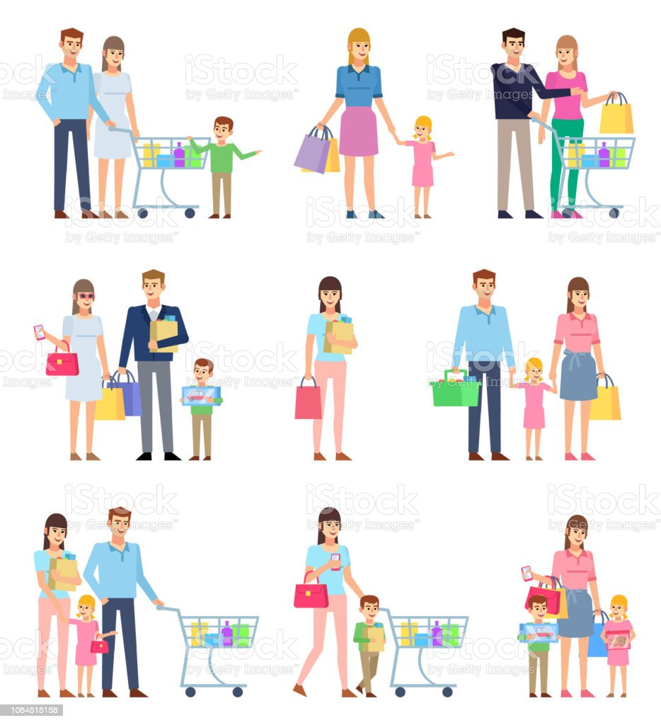 Group of people on shopping, happy family. Husband and wife on shopping with children vector art illustration