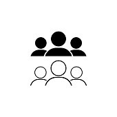 Group of people or crowd, corporate team, business team or partnership icon in black on an isolated white background. EPS 10 vector.