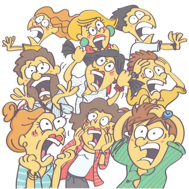 ilustrações de stock, clip art, desenhos animados e ícones de group of people panicking - puxar cabelos