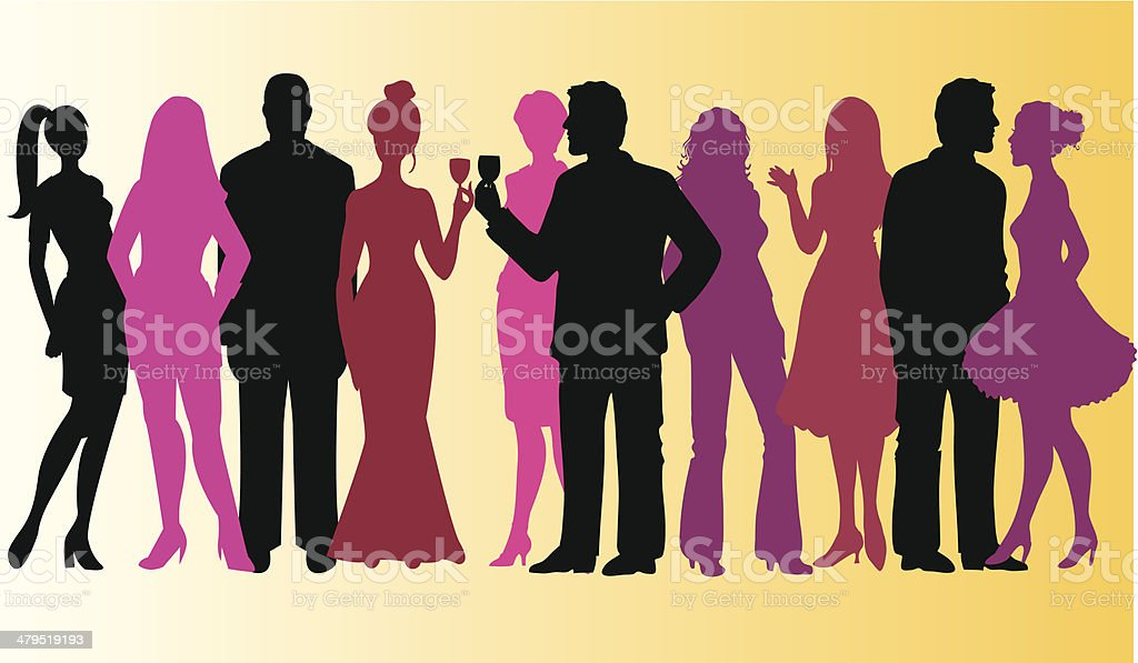 Group of people - party vector art illustration