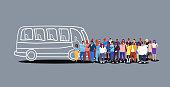 group of people passengers waiting for tour bus tourists men women crowd at city public transport station sketch doodle horizontal vector illustration