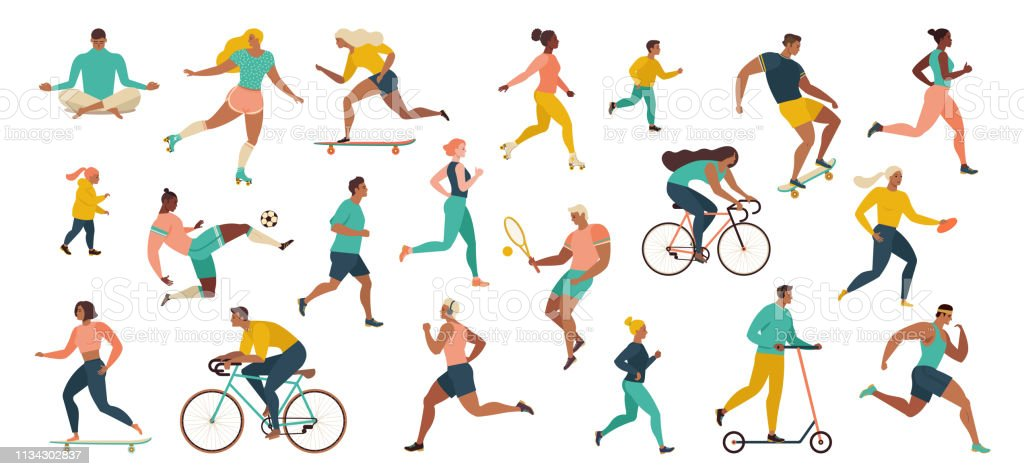 Group of people performing sports activities at park doing yoga and gymnastics exercises, jogging, riding bicycles, playing ball game and tennis. - Royalty-free Adulto arte vetorial