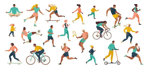 Group of people performing sports activities at park doing yoga and gymnastics exercises, jogging, riding bicycles, playing ball game and tennis. clipart