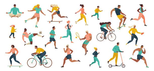 在公園裡進行體育活動的人群做瑜伽和體操練習、慢跑、騎自行車、打球類運動和網球。 - 插圖 幅插畫檔、美工圖案、卡通及圖標