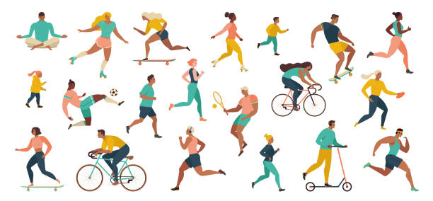 Group of people performing sports activities at park doing yoga and gymnastics exercises, jogging, riding bicycles, playing ball game and tennis. Group of people performing sports activities at park doing yoga and gymnastics exercises, jogging, riding bicycles, playing ball game and tennis. Outdoor workout. Flat cartoon vector. exercising stock illustrations