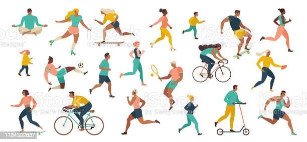 Group Of People Performing Sports Activities At Park Doing Yoga And Gymnastics Exercises Jogging Riding Bicycles Playing Ball Game And Tennis - Arte vetorial de stock e mais imagens de Adulto