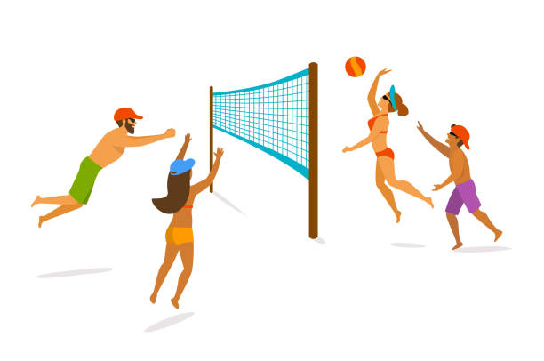 Group of people playing beach volleyball isolated graphic vector art illustration
