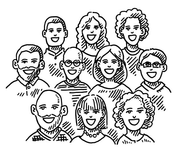 Group Of People Portrait Drawing vector art illustration