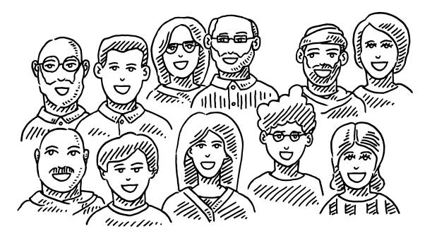 Group Of People Portraits Business Team Drawing Hand-drawn vector drawing of a Group Of People, Portraits of a Business Team. Black-and-White sketch on a transparent background (.eps-file). Included files are EPS (v10) and Hi-Res JPG. women stock illustrations