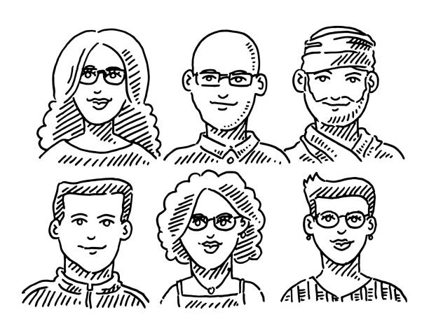Group Of People Portraits Diversity Concept Drawing Hand-drawn vector drawing of a Group Of People Portraits Diversity Concept. Black-and-White sketch on a transparent background (.eps-file). Included files are EPS (v10) and Hi-Res JPG. women stock illustrations