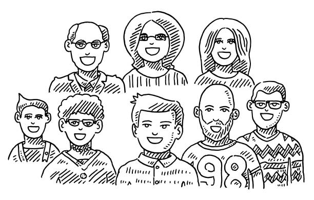 Group Of People Portraits Teamwork Drawing Hand-drawn vector drawing of a Group Of People Portraits, Teamwork Concept. Black-and-White sketch on a transparent background (.eps-file). Included files are EPS (v10) and Hi-Res JPG. women stock illustrations
