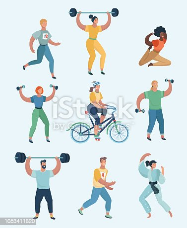 Group people practicing exercises of different kinds of sport. Set of humans doing sports.Vector cartoon illustration in modern concept+