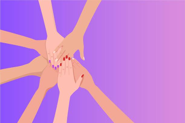 互いの上に手を置く人々のグループ。 - 手 女性点のイラスト素材/クリップアート素材/マンガ素材/アイコン素材