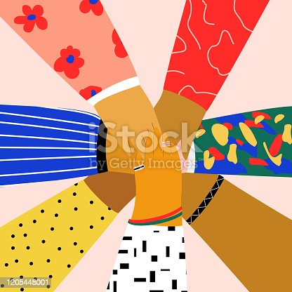 istock Group of people putting their hands together on each other. Friendship, partnership, teamwork, community, team building concept. Flat illustration in trendy cartoon style 1205448001