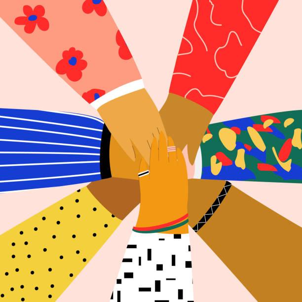 서로 손을 대는 사람들의 그룹. 우정, 파트너십, 팀워크, 커뮤니티, 팀 빌딩 개념. 트렌디 한 만화 스타일의 플랫 일러스트레이션 - 사회 정의 stock illustrations