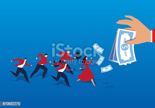 A group of people ran after the money