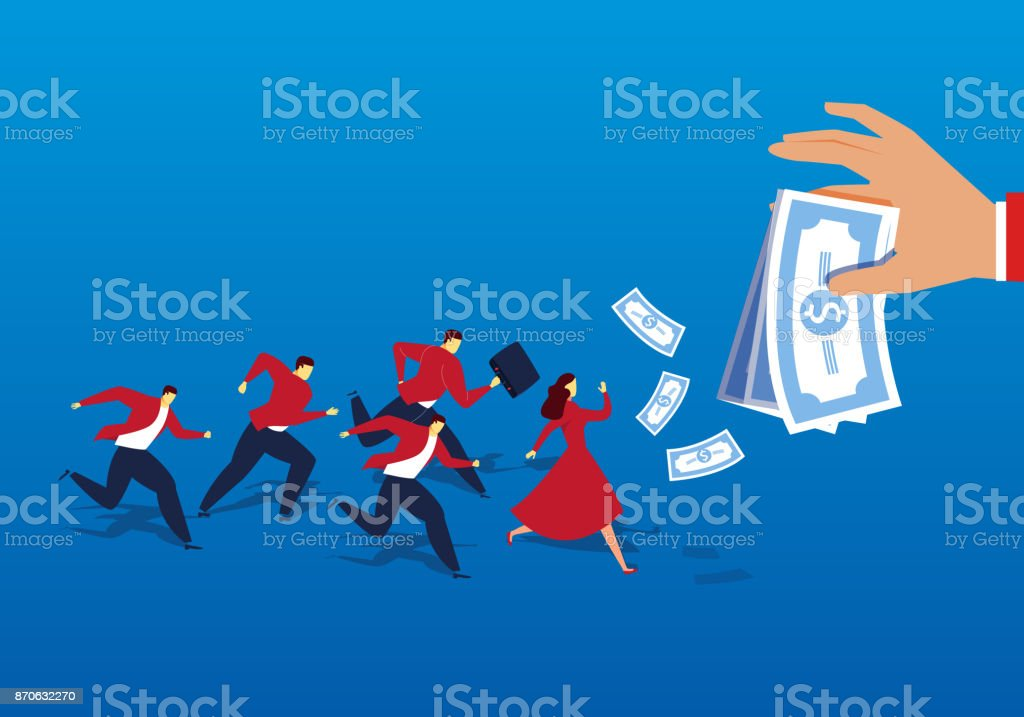 A group of people ran after the money vector art illustration