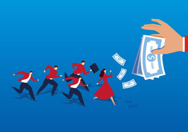 stockillustraties, clipart, cartoons en iconen met een groep mensen liep na het geld - verleiding