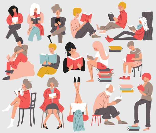 Group of people reading books. Men and women, young and old, sitting, standing and laying down and reading a book. Isolated, flat vector illustration vector art illustration