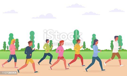 Group of people running. Concept of running men and women, marathon, jogging.