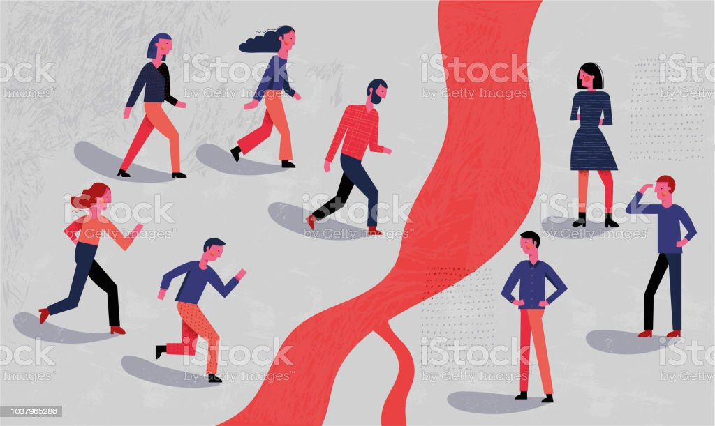 Group of people running towards a border vector art illustration