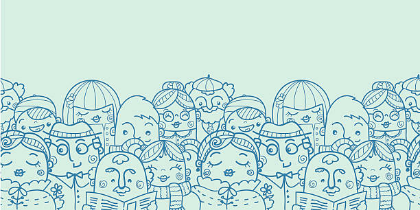 group of people seamless horizontal pattern - old man standing background stock illustrations, clip art, cartoons, & icons