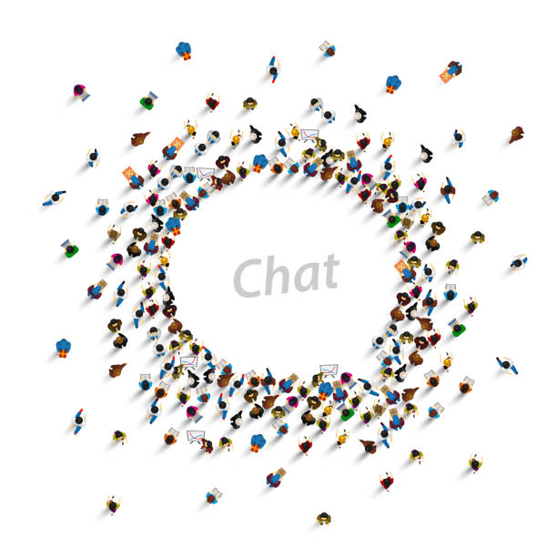 A group of people shaped as a chat icon, isolated on white background. Vector illustration A group of people shaped as a chat icon, isolated on white background. Vector illustration crowd of people stock illustrations