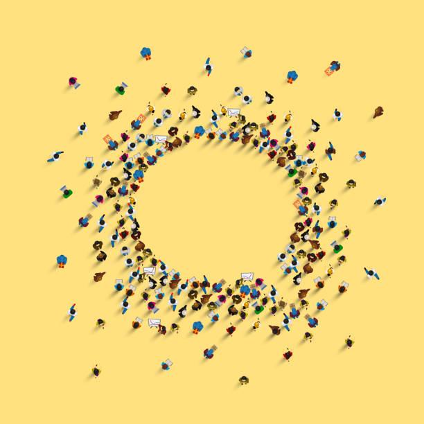 黄色の背景に孤立した、チャットアイコンとして形成された人々のグループ。ベクターイラスト - 人 俯瞰点のイラスト素材/クリップアート素材/マンガ素材/アイコン素材