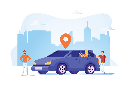 group of people sharing car, online car sharing service vector , happy friend with multi ethnic standing next to car