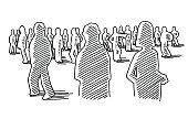 Hand-drawn vector drawing of a Group Of People Silhouettes. Black-and-White sketch on a transparent background (.eps-file). Included files are EPS (v10) and Hi-Res JPG.