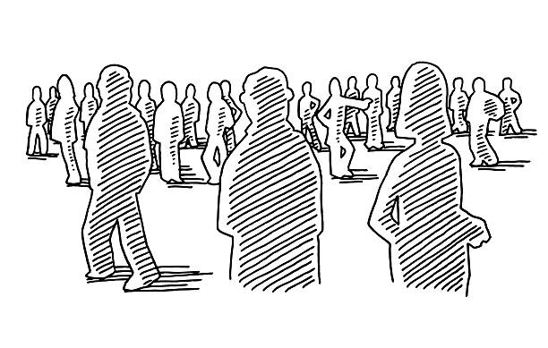 Group Of People Silhouettes Drawing Hand-drawn vector drawing of a Group Of People Silhouettes. Black-and-White sketch on a transparent background (.eps-file). Included files are EPS (v10) and Hi-Res JPG. women stock illustrations