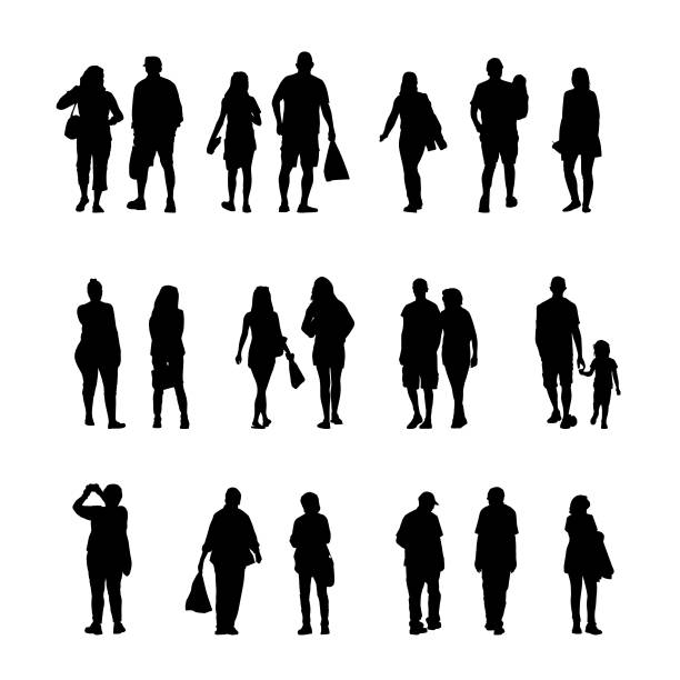 A group of people silhouettes walking and shopping vector art illustration