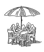 Group Of People Sitting Outside Umbrella Drawing