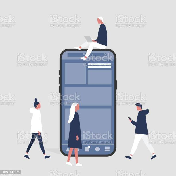 Group of people sitting standing and walking near by a smartphone vector id1053141152?b=1&k=6&m=1053141152&s=612x612&h=2jqree8ziv9ex3jxep efieab6owekodvv2lizj6w7o=