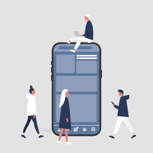 A group of people sitting, standing and walking near by a smartphone. Social media life. Digital space. Millennial users. Flat editable vector illustration, clip art A group of people sitting, standing and walking near by a smartphone. Social media life. Digital space. Millennial users. Flat editable vector illustration, clip art millennial generation stock illustrations