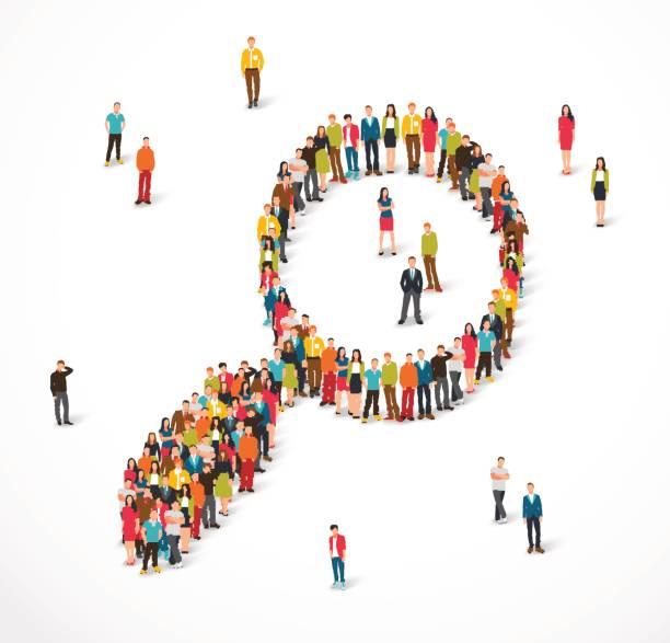 Gruppe von Menschen stehen in einem Vergrößerungsglas-Zeichen – Vektorgrafik