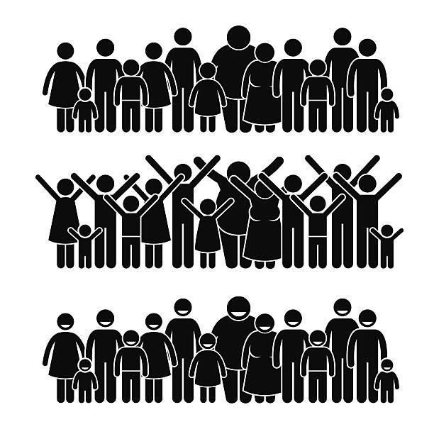 Group of People Standing Community Stick Figure Pictogram Icons A set of human pictogram representing a group of people standing and working towards a community. community silhouettes stock illustrations