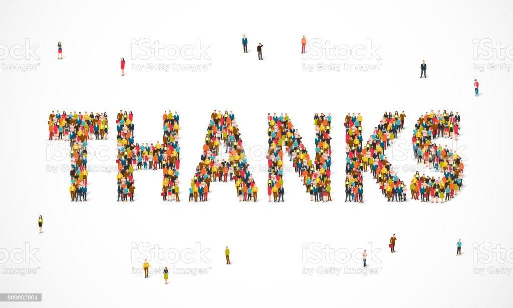 Groupe de personnes debout en un mot Merci groupe de personnes debout en un mot merci vecteurs libres de droits et plus d'images vectorielles de admiration libre de droits