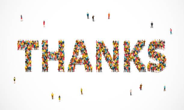 gruppe von menschen stehen in einem wort danke - danke stock-grafiken, -clipart, -cartoons und -symbole
