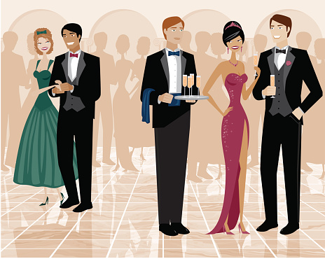 Group of People Standing in Ballroom and Dressed Up