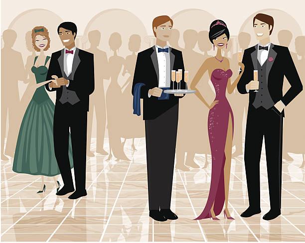 Groupe de personnes debout dans la salle de bal et habillé - Illustration vectorielle