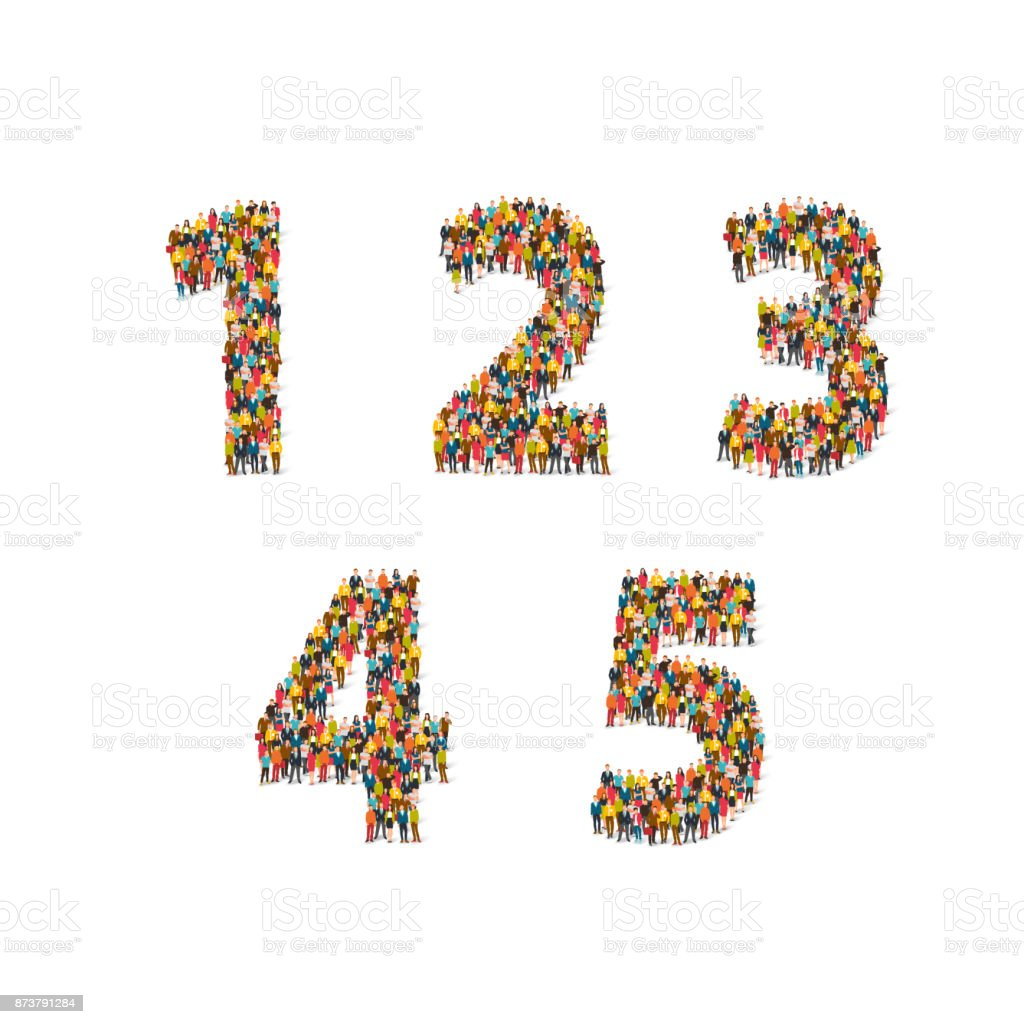 Group of people standing in different digital figures royalty-free group of people standing in different digital figures stock illustration - download image now