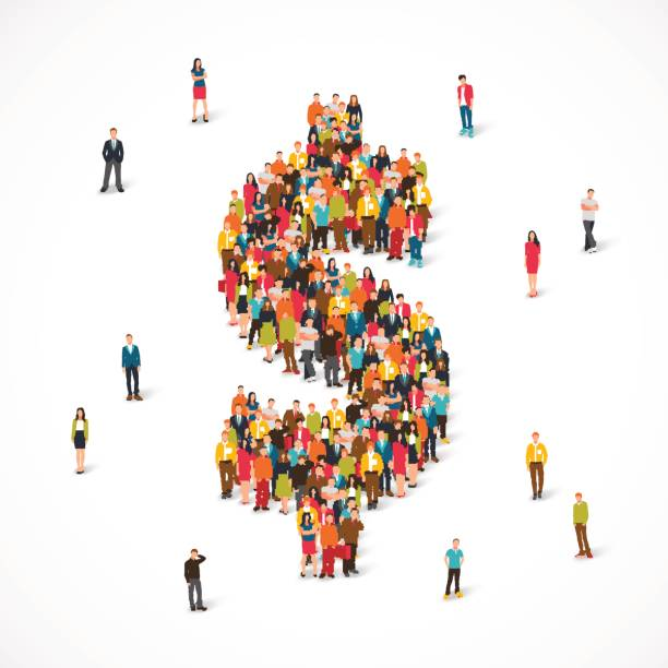 Group of people stands in the dollar sign Large group of people stands in the dollar sign. Vector illustration on white background. Concept of money, finances and deposits. millionnaire stock illustrations